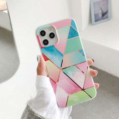 For iPhone 11 Pro XS MAX XR 8 7 Plus Geometric Marble Case with screen protector