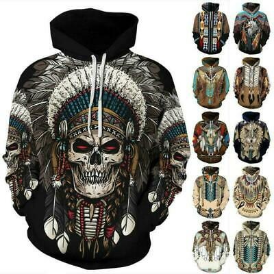 Native American Indian Chief Tribal Totem Ethnic Men Women Pullover Hoodie Tops