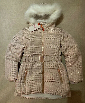 Ted Baker ISARBEL Girls Pink & Rose Gold Coat With Belt- Age 10 NEW With Tags