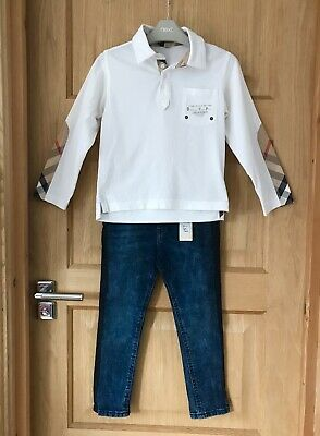 BURBERRY RIVER ISLAND *6y BOYS Fabulous New JEANS & DESIGNER TOP OUTFIT 6 YEARS