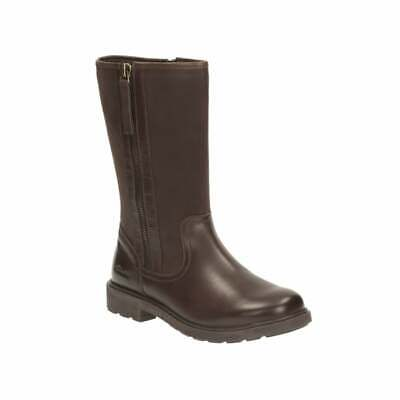 New Clarks Ines Rain Older Girls Brown Leather Boots Size 4.5 F & 2.5 G