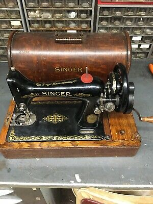 Singer 1918 99K Hand Crank Sewing Machine With Bentwood Case Fully Working + Key