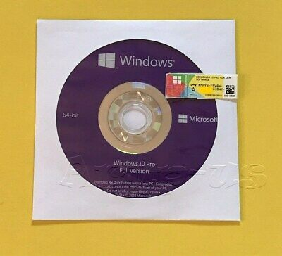 Microsoft Windows 10 PRO Professional 64bit DVD + COA Product Key + Hardware**