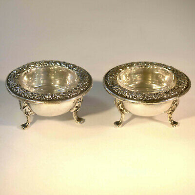 VTG 1932 - S Kirk & Son - Sterling Repousse Footed Salt Cellars - Glass Liners