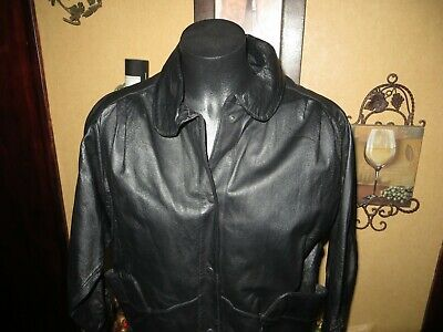 Wilsons Womens Size Small Genuine Leather Black Lined Zippered Jacket Coat