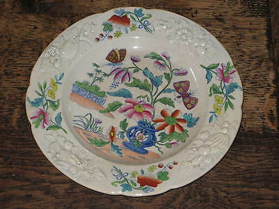 Early 19Th Century Opaque China Plate Polychrome Embossed Dec Possibly Welsh