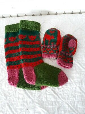 Vintage Hand Knitted Children's Socks & Mittens Hearts kitty Cats Pink Red Olive