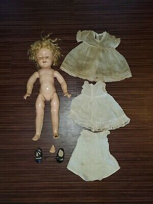 "Vtg 1930s 18"" IDEAL COMPOSITION SHIRLEY TEMPLE DOLL Needs TLC! As Is clothes"
