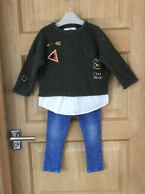 NEXT M&S *3y GIRLS KHAKI JUMPER BLOUSE TOP & JEANS OUTFIT AGE 3 YEARS (3-4y)