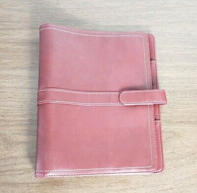 Day-Timer Simulated Soft Red Leather Organizer, Magnetic Tab, with inserts