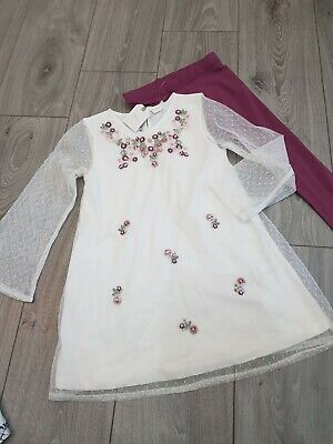 Next Girls Embroidered xmas PARTY Tunic + Leggings new age 5 set girls red dress