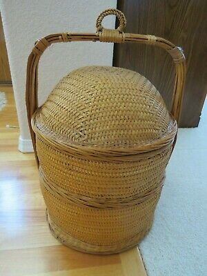 Vintage Wedding Basket Chinese Asian Woven Wicker 3 pieces Rattan Bamboo