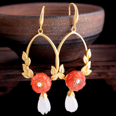925 silver plated gold red jade earrings jewelry Chinese Retro style
