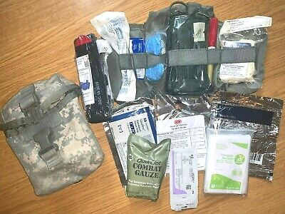 US Military ACU MOLLE IFAK Improved First Aid Kit Complete w/ Supplies EXC-LN