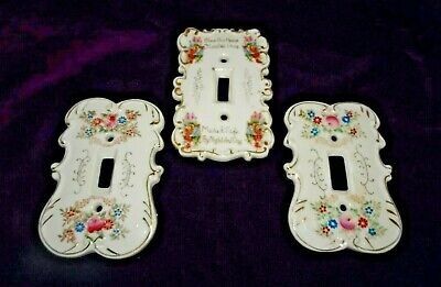 1950's Ardalt Light Switch Plate Covers & Arnart Floral Pair Hardware Vintage