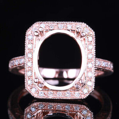 Oval 12x10mm Solid 14K Rose Gold Classic Vintage Antique Diamond Ring Setting