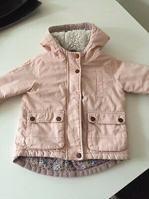 Next Baby Girl Pink Coat / Jacket With Hood /Parka 12-18 Months