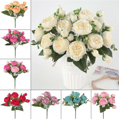 Bouquet Artificial Silk Fake Large Peony Flower Wedding Party Office Table Decor