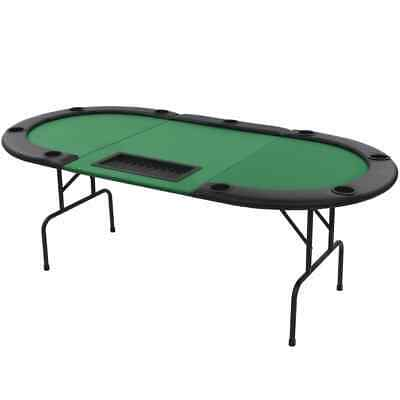 vidaXL 9-Player Folding Poker Table 3 Fold Oval Green Game Stand Casino Table