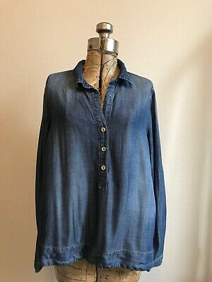 Anthropologie Cloth & Stone Chambray Long Sleeve Top Size S