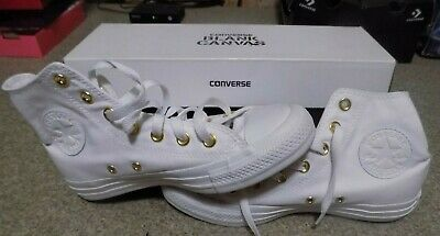 Converse Blank Canvas  White Mens Size 4.5 Womens Size 6.5 High Tops Gold Trim