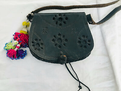 Vtg Moroccan Leather Purse. Kuchi Beaded Tassels Morocco