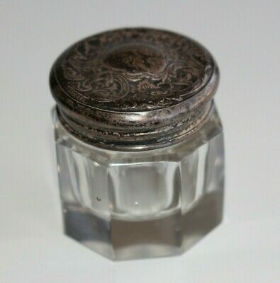 Antique Art Nouveau Glass Vanity Powder Jar Trinket box Sterling Silver Lid