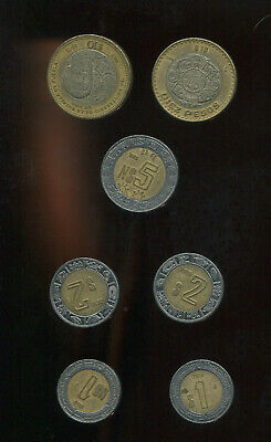 Lot Of 7 Mexican Pesos Bi-Metal Coins $10 $5 $2 $1 2006 2012 1993 2018