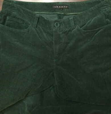 Theory Womens Green Corduroy Flat Front Casual Wide Leg Pants Pockets Size 6