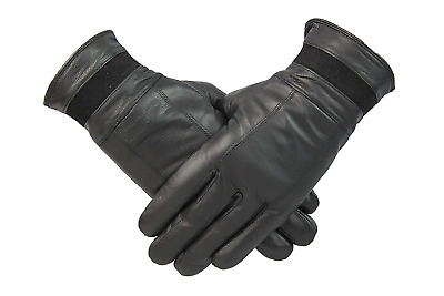 Womens Black Genuine Leather Gloves With Suede Strip Vintage Look Fleece Lined M