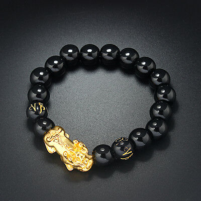 Natural Gold Obsidian Beads Overlord Bracelet Double Chinese Dragon Pixiu A88