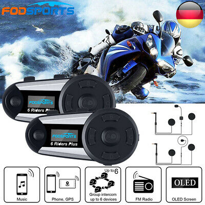 2x 1200M Motorrad Bluetooth Sprechanlage Intercom Helm Intercom Headset FM Radio