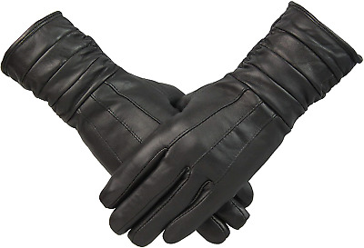 Womens Black Genuine Leather Long Line Gloves Ruched Cuff Vintage Look Fleece M