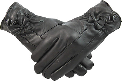 Womens Black Touch Screen Leather Gloves Fleece Lined With Bow and Button Gift