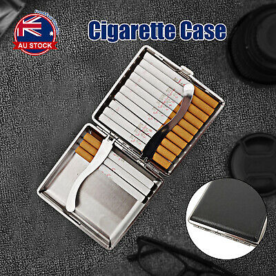 Stainless Steel+Pu Cigar Cigarette Tobacco Case Pocket Pouch Holder Box N