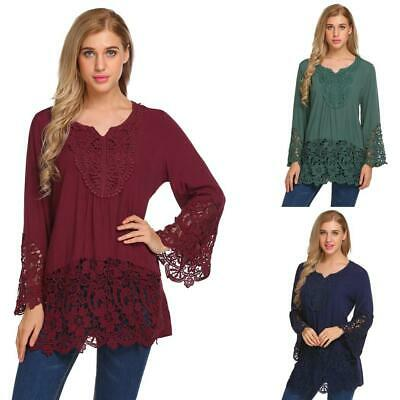 Women V-neck Flare Sleeve Patchwork Long T-shirt Lace Decor Loose Casual GDY7