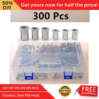 300 Pcs Multi Size Rivet Nuts Set Stainless Steel Flat Head M3 M4 M5 M6 M8 M10