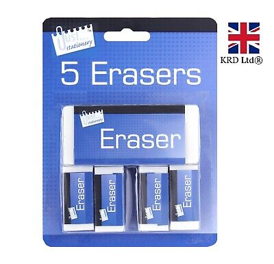 5 WHITE ERASERS PACK Soft White Pencil Rubber School Art Drawing Artists T6340UK