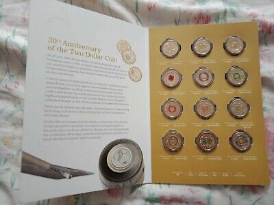 2018 30th Anniversary of the $2 Coin - 12 Coin Set in Folder