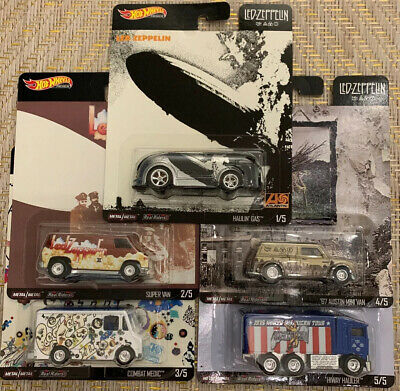 HOT WHEELS 2020 POP CULTURE LED ZEPPELIN E CASE COMPLETE 5 CAR SET -NEW! In Hand