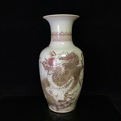 """Fine Chinese Porcelain Hand painting Underglaze red dragon pattern Vases 16.5"""""""