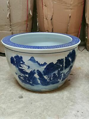 Large Asian Ceramic Garden Pot in Blue and White Colour Width 39cm
