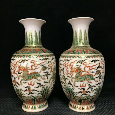 Old Fine Chinese Porcelain chenghua marked pair Kylin ruyi pattern Vases 8.7""