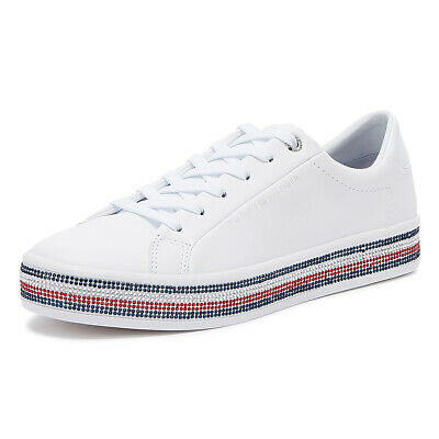 Tommy Hilfiger Rhinestone Jeweled Womens White Trainers Sport Casual Shoes