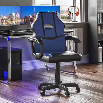 Racing Gaming Office Chair Computer Executive Leather Swivel Wheels Blue Black