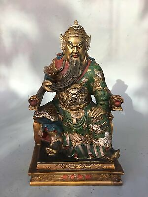Chinese old antique bronze painting guangong guanyu statue fengshui Decoration