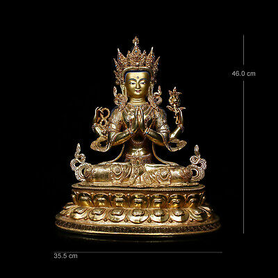 Qing Dynasty old Nepal Tibet Temple bronze gilt Four arm guanyin goddess statue