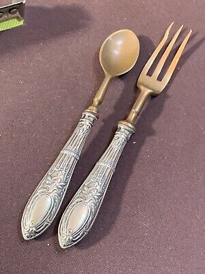 Antikes Kinder Besteck aus Silber um 1900 gepunzt- Sterling Fork and Spoon Child