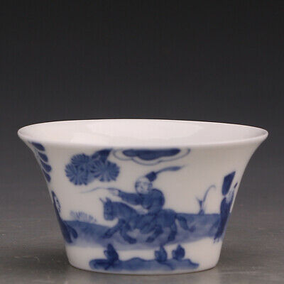 """2.7"""" Chinese Fine Porcelain Hand painting Blue & white character Horse Teacup"""