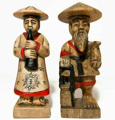 Early 20Th C Vint Hand Carved & Painted Soapstone Chinese Figures In Trad Dress